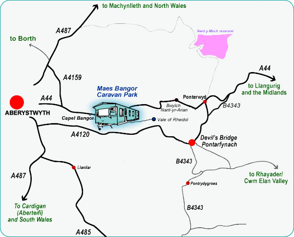 Map showing location of Maes Bangor Caravan Park
